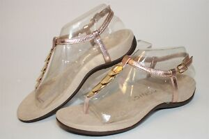 Vionic Miami Metallic Leather Buckle Thong Womens 6.5 37.5 Comfort Shoes TVW5178