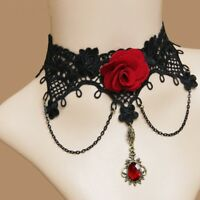 Lace Gothic Women Retro Steampunk Collar Rose Necklace Choker Collar False Gem