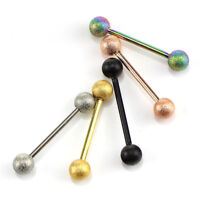 5 Pcs 14G Surgical Steel Mixed Barbell Bar Tounge Rings Piercing Body Jewelry *.