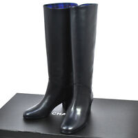 Authentic CHANEL CC Logos Long Boots Navy Leather #37 1/2C Vintage Italy A35830d