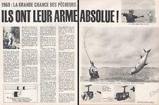 Publicité Moulinet LUXOR Pêcheur Pêche en mer fisher Sea fishing Vintage Ad 1968