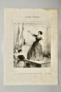 BEAUMONT EDOUARD DE(1821-1888)-LITHO ORIG.CHARIVARI-LES FEMMES EN REVOLUT°- N°2
