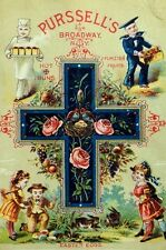 1870's-80's Lovely Pursell's Broadway, NY Easter Eggs Bread Prices Trade Card *B