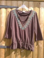 Vintage Next Oriental Sequined Brown Top Tunic 12
