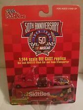 NASCAR 50TH ANNIVERSARY 1948-1998 DIE CAST SKITTLE STOCK CAR & TEAM  TARNSPORTER