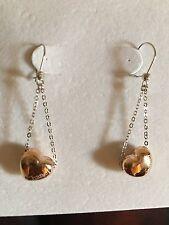 """Gold Heart Dangle Earring 1-1/2"""" 18K Solid White & Rose"""
