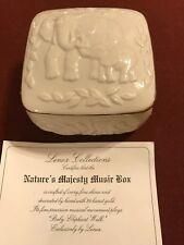 """Lenox Elephant Nature""""s Majesty Music Box. Fine Ivory China 1999 Coa New"""