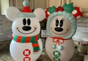 New! 2021 Disney Mickey and Minnie Mouse Lighted Snowman Blow Mold Set Christmas