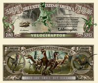 VELOCIRAPTOR BILLET MILLION DOLLAR US! Collection Dinosaure Jurrassic Park World