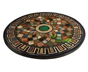2' Black Marble Table Top Round Dining Table Multi Stone Mosaic Inlay Home Decor
