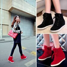 Fashion Women's Sneakers High Top Lace Up Athletic Shoes Lady Wedge Ankle Boots