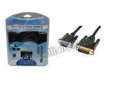 CAVO ADATTATORE DVI A VGA 3 MT PC TV MONITOR LCD CONVERTITORE DVI-I 1595-550