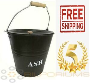 NEW 10L Metal Ash Bucket With Lid Wooden Handle Fireplace Container Traditional