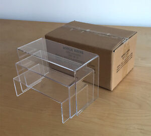 Crystal Clear Acrylic Stepped Riser / Showcase Display Stand -  Set of 3