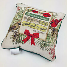 """Christmas Cardinals & Birdhouses Peace on Earth 17"""" Tapestry Square Pillow"""