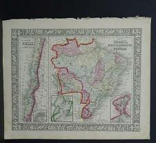 Antique Map, Mitchell, 1865 Chile, Brazil, Bolivia, Paraguay M8#10