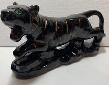 Vtg Jpan Ceramic Hand Painted Tiger Black Glaze Gold Stripes Green Eyes
