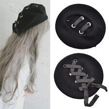 Baskenmütze Damen Barett Hut Wollmütze Schirmmütze Schnürung Mütze Strickmütze