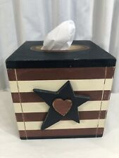 "RARE Tissue Box Wood Cover Americana Flag Red White Blue 6""x6"" Star Heart Decor"