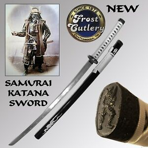 "NEW SAMURAI KATANA SWORD & SAYA BY FROST CUTLERY HAND WRAPED HANDLE & 26"" BLADE"