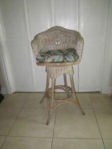 Bamboo Rattan Swivel Bar Stool Tropical Style Medium White Wash With Cushion