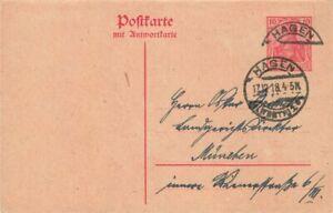 452864) DR Doppel-GSK 10 Pf. Germania Hagen 1918