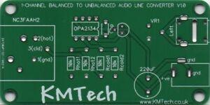Mono Balanced to Unbalanced Audio Line Converter ULTRA LOW NOISE PCB DIY