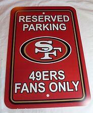 "NEW NFL 12""x18"" PLASTIC STYRENE RESERVED PARKING SIGN - SAN FRANCISCO 49ERS"