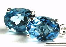 • SE003, 8x6mm Swiss Blue Topaz, 925 Sterling Silver Threader Earrings -Handmade