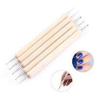 5Pcs/set 2-Way Wooden Nail Art DIY Dotting Dot Pen Marbleizing Manicure Tools