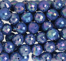 20mm - 10 PACK of Deep Blue Faceted AB Bubblegum Beads, 20mm Chunky, Disco