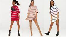 Women Stripe Loose Oversized Boyfriend Shift Dress Casual Long Tops T Shirt Tee