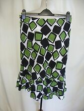 """Ladies Skirt Hobbs green/black/white linen UK 12 waist 30"""" light pull-on 7249"""