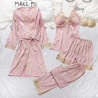 4PCS Women Silk Satin Pajamas Set Pyjama Sleepwear Nightwear Soft Loungewear Pjs
