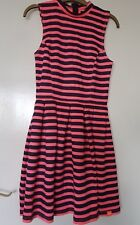 New Womens SUPERDRY Premium Scuba Dress Fluro Coral Navy Stripe UK10 Size XS