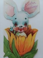 1946 Vtg Little BUNNY in a TULIP Cute Die Cut EASTER GREETING CARD