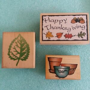Lot of 3 Rubber Stamps Autumn Happy Thanksgiving Leaves Pottery Pots Aspen Leaf