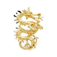 14K Real Solid Yellow Gold Dragon Pendant For Men Women Dragon Pendant
