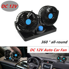1X Adjustable 12V Dual Fan Cooler 360° Rotating Mini SUV Car Air Cooling Spiffy