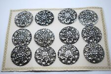 12pcs 32mm  ANTIQUE SILVER FILIGREE BUTTONS 40s-50s ON ORIGINAL VINTAGE CARD