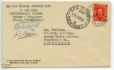 AUSTRALIA 1945.9.22 Qantas Development flight Sydney-Singapore - pilot signed