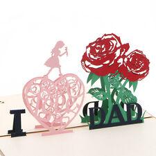 3D Pop Up I Love Dad Greeting Card Valentines Christmas Gift Birthday Invitation