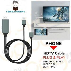 CAVO MHL FULL HD 1080P MICRO USB HDMI HDTV TV PER  IPHONE IPAD Nuovo