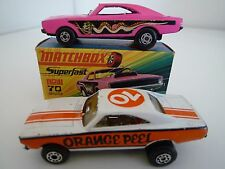 MATCHBOX SUPERFAST No.70 DODGE CHARGER DRAG CAR & LATER ORANGE PEEL VERSION 70's