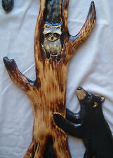2BLACK BEAR & RACCOON Chainsaw Cabin Decor Wall Art Wood Carving Carved cub