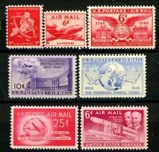 1948 to 1949 Air Mails Complete Set 7 MNH Scott's C38 to C40 & C42 to C45