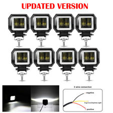 8x 3 inch 7D 20W LED Spot Work Light Offroad Headlight White Halo Motorcycle SUV