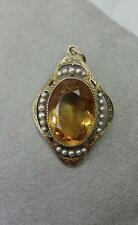 Citrine Art Nouveau 14K Necklace c1910 Pendant Antique Victorian Belle Epoque