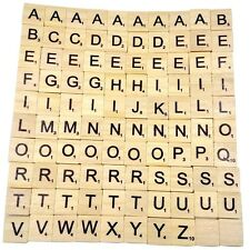100 Wooden Scrabble Tiles Black Letters Numbers For Crafts Wood Alphabets Newest