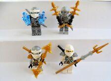 4 Lego Figuren Ninjago Zane mit Waffen Neu Ninja Titanium Figur Silber Waffe